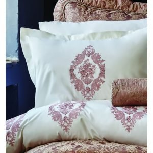 Постельное белье Karaca Home Astoria rose 2017-1 перкаль с вышивкой 200×220