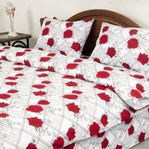 Постельное белье Lotus Ranforce Carmen V1 Красный  (sv-2000008479158-v) Красный|Серый фото