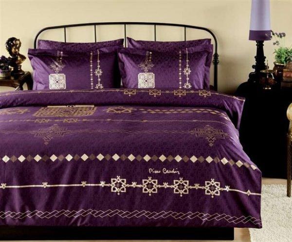 купить Постельное белье Pierre Cardin - Ottoman фиолетовое сатин Евро комплект|Двуспальное