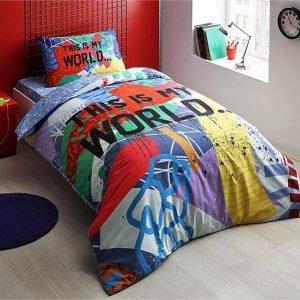 Подростковое постельное белье TAC Ranforce Teen Graffiti – My World mavi 160×220