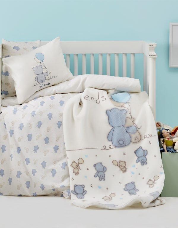 Постельное белье для младенцев Karaca Home – Blue Bears 2018-2 100×150