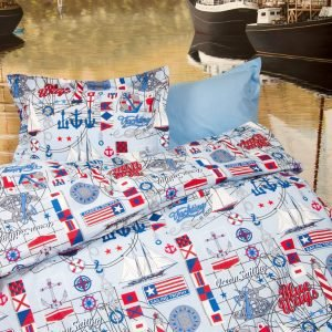 Постельное белье для подростков Lotus Premium B&G – Sailor голубой 145×210