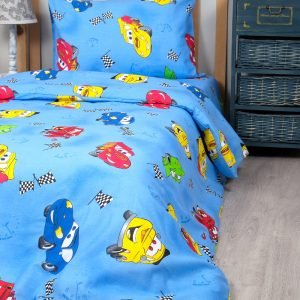 Постельное белье для подростков Lotus Young – Cars 95 голубой 145×210