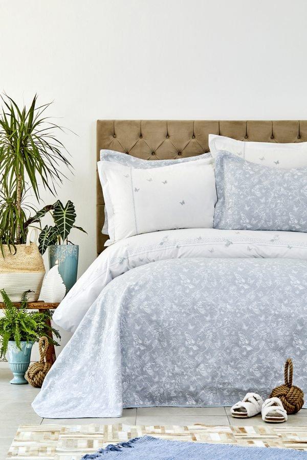 купить Постельное белье с покрывалом Karaca Home - Mariposa gri 2019-1 (svt-2000022209274)