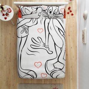 Постельное белье TAC Disney Freemood – Bugs Bunny & Lola Bunny Amour 200×220