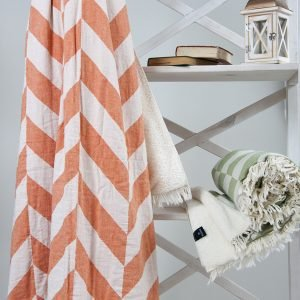 Плед микроплюш Barine – Fishbone Throw orange 125×170
