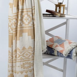 Плед микроплюш Barine – Rug Throw mustard 130×170