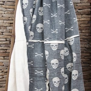 Плед микроплюш Barine – Skull-bones siyah 125×170