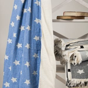 Плед микроплюш Barine – Star Throw blue 130×170