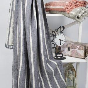 Плед-накидка Barine – Cocoon Stripe indigo 130×170