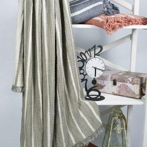 Плед-накидка Barine — Cocoon Stripe khaki 130×170