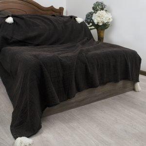 Плед-накидка Barine – PonPon Throw Black 150×185
