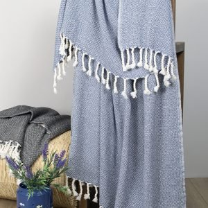 Плед-накидка Barine – Wool Basket indigo 120×175