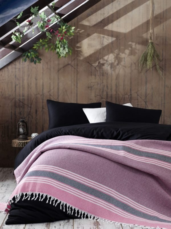 Плед Eponj Home – Anna Elmas pembe-siyah 220×240