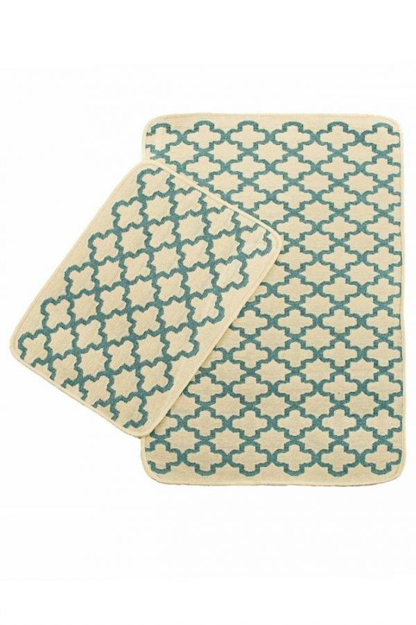 Набор ковриков Solo Krem Mavi Geometri 40×60|60×90