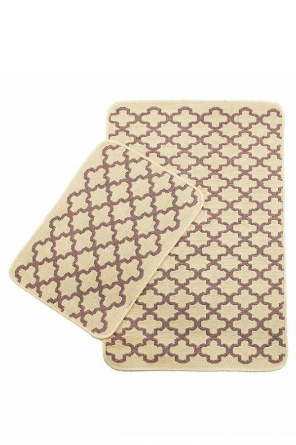 Набор ковриков Solo Krem Pembe Geometri 40x60|60x90