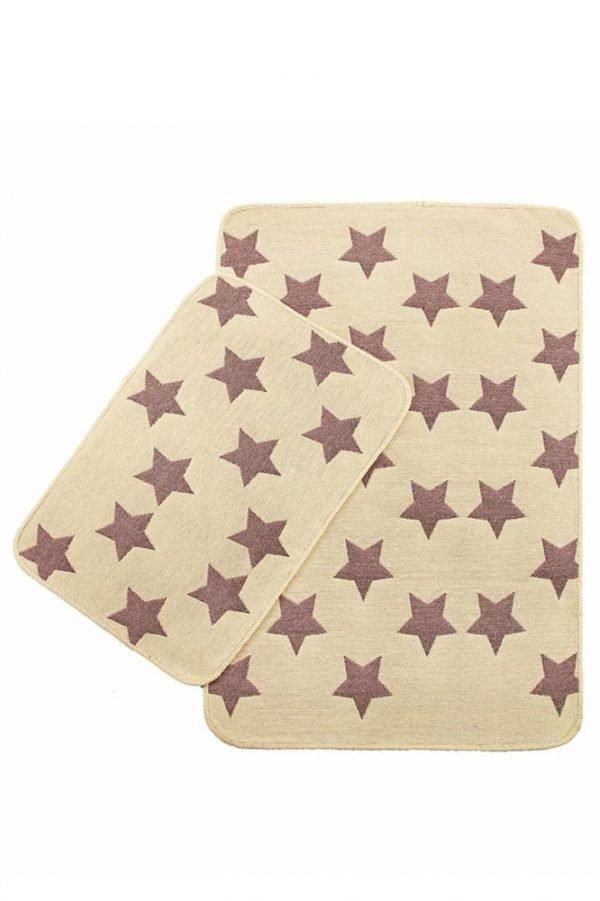 Набор ковриков Solo Krem Pembe Yildiz 40x60|60x90