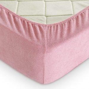 Простынь на резинке Махровая 160*200+25 розовый 160×220