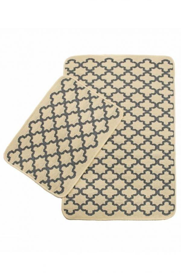 купить Набор ковриков в ванную Solo Krem Gri Geometri (IZ-2200000544865)