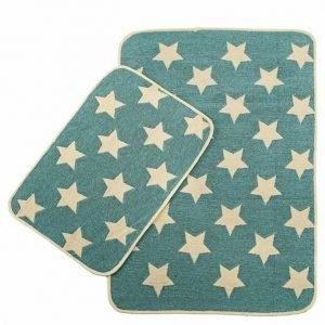 Набор ковриков в ванную Solo Krem Mavi Yildiz 40×60|60×90