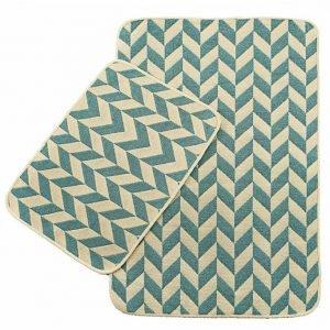 Набор ковриков в ванную Solo Krem Mavi Zigzag 40×60|60×90