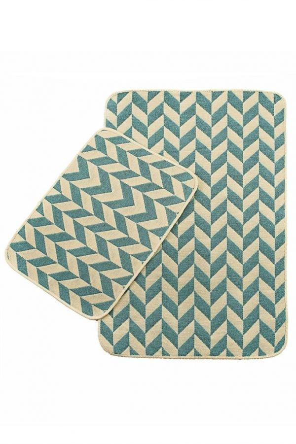 купить Набор ковриков в ванную Solo Krem Mavi Zigzag (IZ-2200000544889)