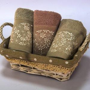 Набор полотенец махровых Begonville — Lauren 15 gri-pembe 30×50