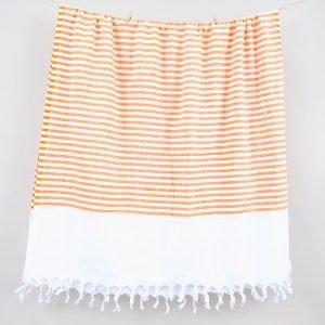 Полотенце Barine Pestemal — White Imbat Orange 90×170