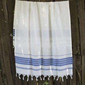 Полотенце Lotus Pestemal – White-navy 13 Simple stripe 75×150