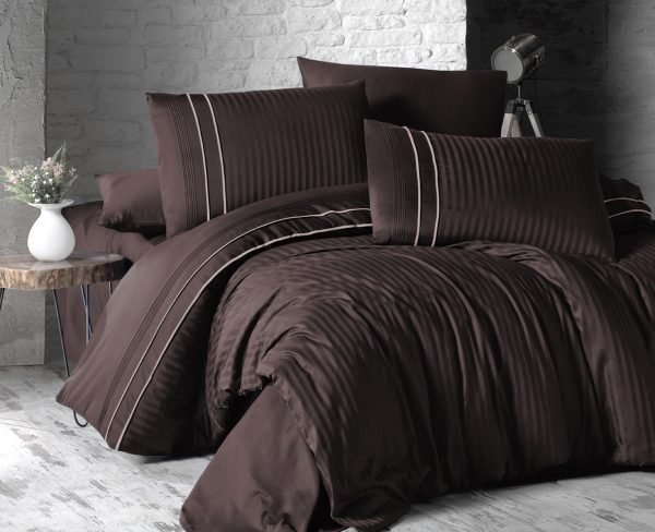 Постельное белье ТМ First Choice сатин де люкс stripe style cikolata 200×220