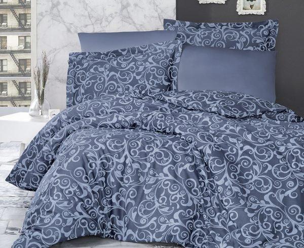 купить Постельное белье ТМ First Choice сатин люкс sweta indigo Двуспальное|Евро комплект