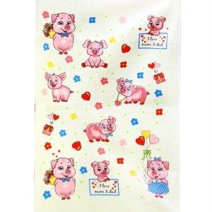 купить Кухонное полотенце Веселые поросята 40x60см розовое Турция (IZ-2200000546418)