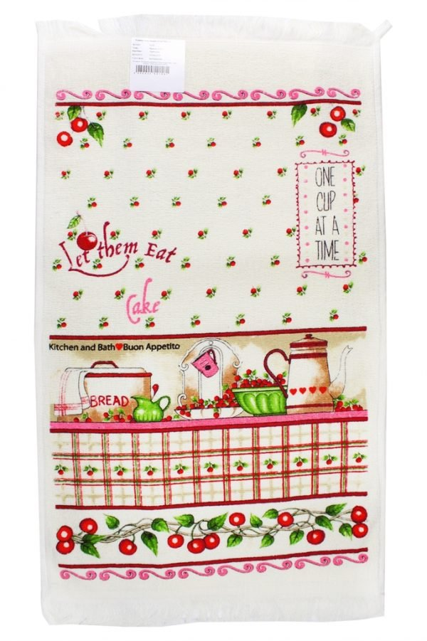 купить Кухонное полотенце Вишня 40x60см розовое Турция (IZ-2200000541581)