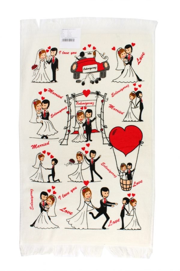 купить Кухонное полотенце Влюбленные 40x60см красное Турция (IZ-2200000541482)