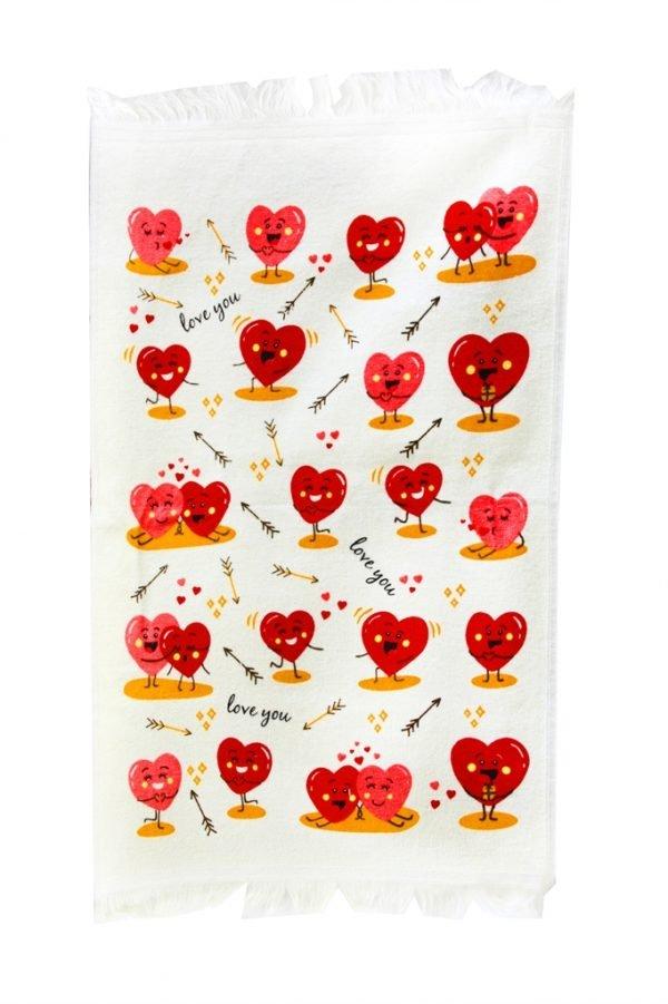 купить Кухонное полотенце Любовь 40x60см красное Турция (IZ-2200000546371)