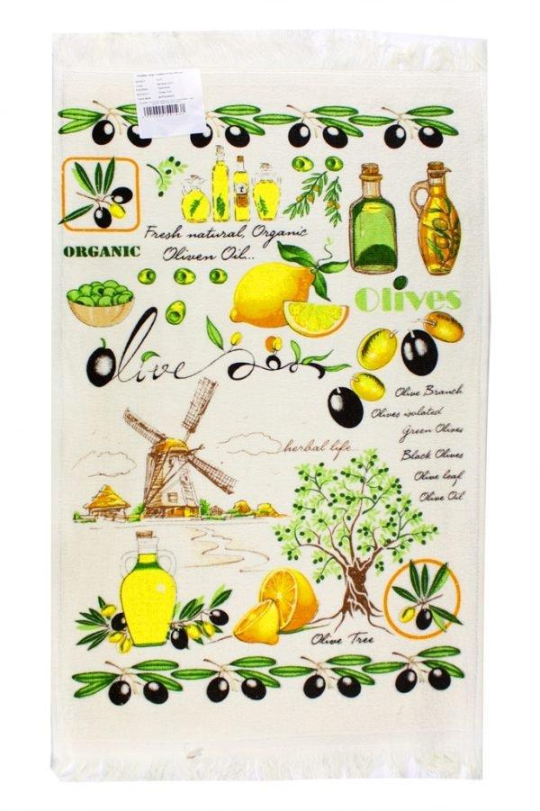 Кухонное полотенце Оливки зеленое
