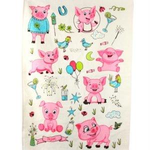 Кухонное полотенце Поросята 40×60см розовое