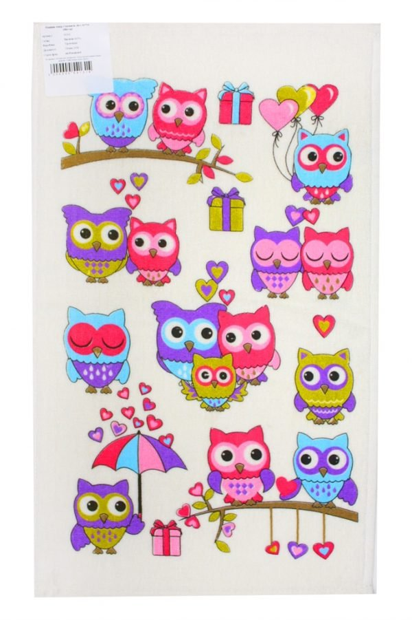 купить Кухонное полотенце Совы Лето 30x50см розовое Турция (IZ-2200000541314)