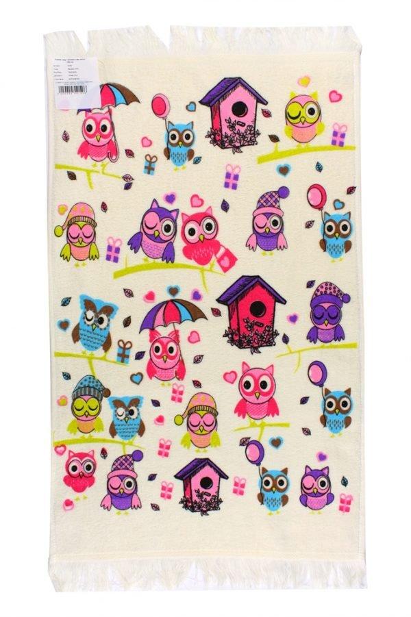 купить Кухонное полотенце Совы Осень 40x60см розовое Турция (IZ-2200000541406)