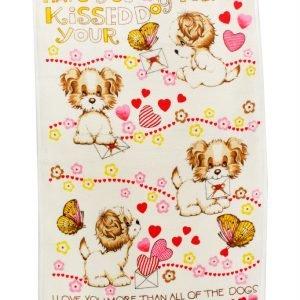 Кухонное полотенце Щенки 40×60см розовое
