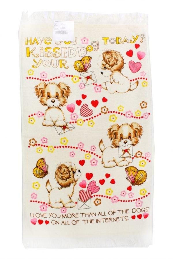 купить Кухонное полотенце Щенки 40x60см розовое Турция (IZ-2200000541536)