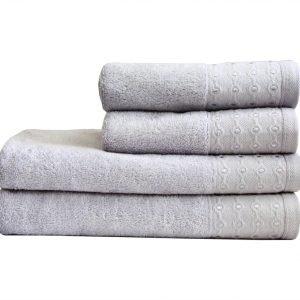 Махровое полотенце Bamboo Puan серое