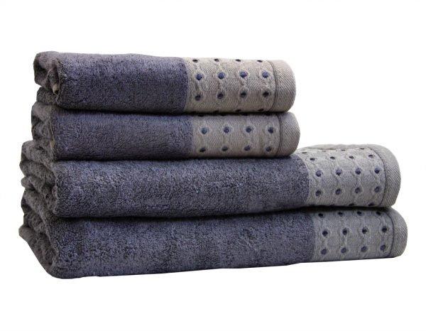 Махровое полотенце Bamboo Puan синее
