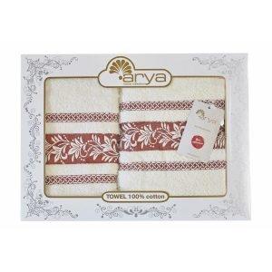Набор полотенец ТМ Arya Жаккард 2 шт. Auden коричневый 50×90|70×140