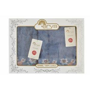 Набор полотенец ТМ Arya Жаккард 2 шт. Belissa Голубой 50×90|70×140