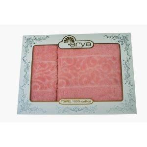 Набор полотенец ТМ Arya 2 шт. Бархат Liber Розовый 50×90|70×140