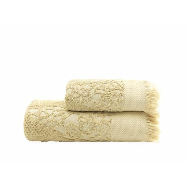 купить Набор полотенец ТМ Arya 2 шт. Жаккард Faralya Бежевый Турция (TRK111000021792-1)