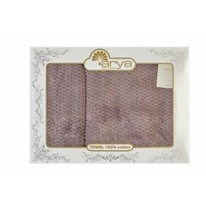 Набор полотенец ТМ Arya 2 шт. Arno Лиловый 50×90|70×140