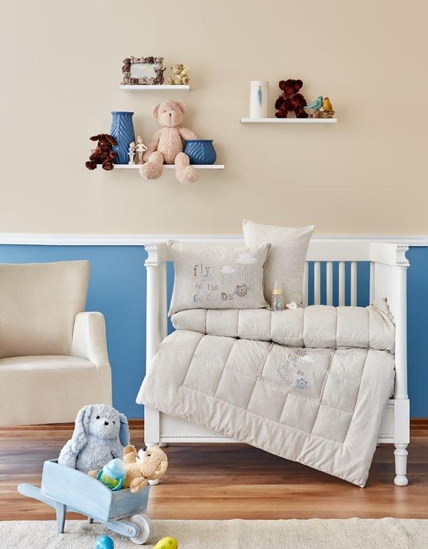 Детское постельное белье в кроватку для младенцев Karaca Home – Cloudy 2018-2 bej (4 предмета) 100×150