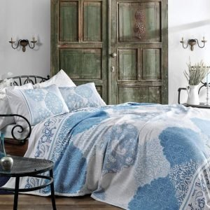 Летнее постельное белье с Пике ТМ TAC Aryan Blue 200×230